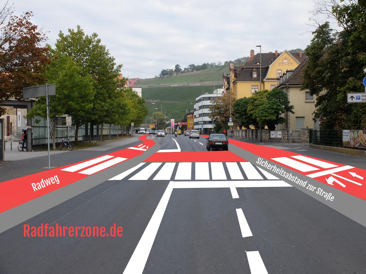 Mögliche Fahrradfreundliche Lösung für die Veitshöchheimer Straße | Radfahrerzone.de