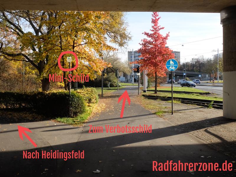 Radweg-Kreuzung am Radweg der Mergentheimer Straße   Radfahrerzone.de