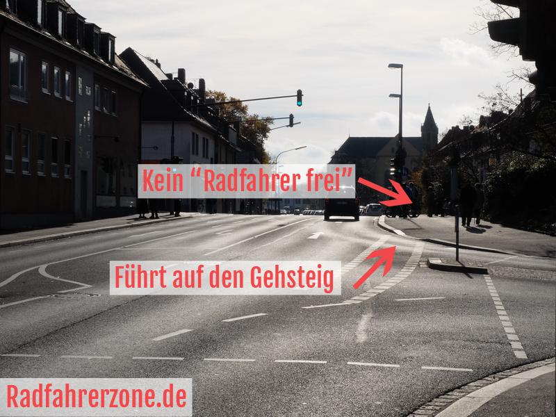 Kreuzung vor der alten Mainbrücke, Dreikronenstraße | Radfahrerzone.de