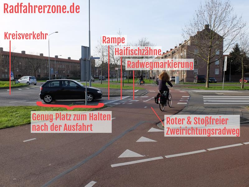 Radweg-Design-Trick 1: Stoßfreier Radweg im Kreisverkehr