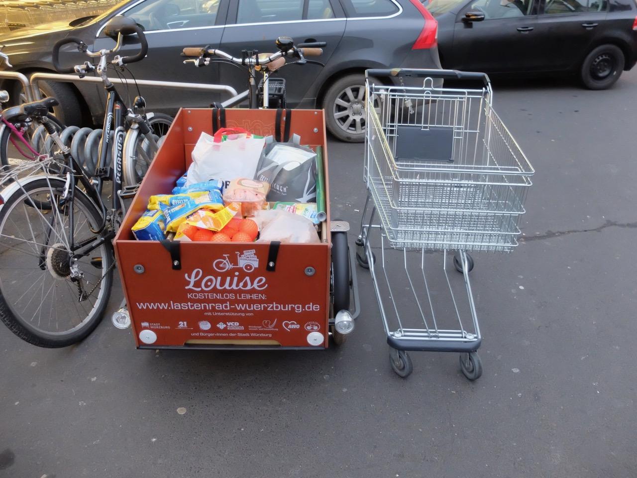 Einkauf mit E-Lastenrad Louise